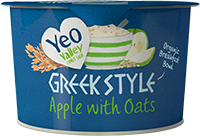 Greek Style Apple yogurt with oats packshot in a breakfast bowl