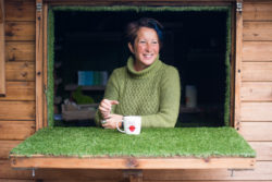 Sarah Mead with a cup of tea