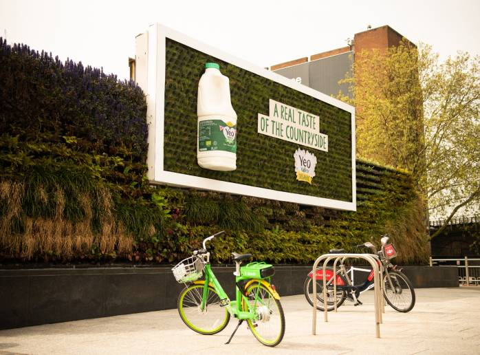 Yeo Valley organic milk on a living billboard in London