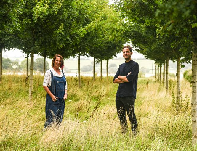 Sarah Mead and Tom Massey in the Yeo Valley Organic Garden