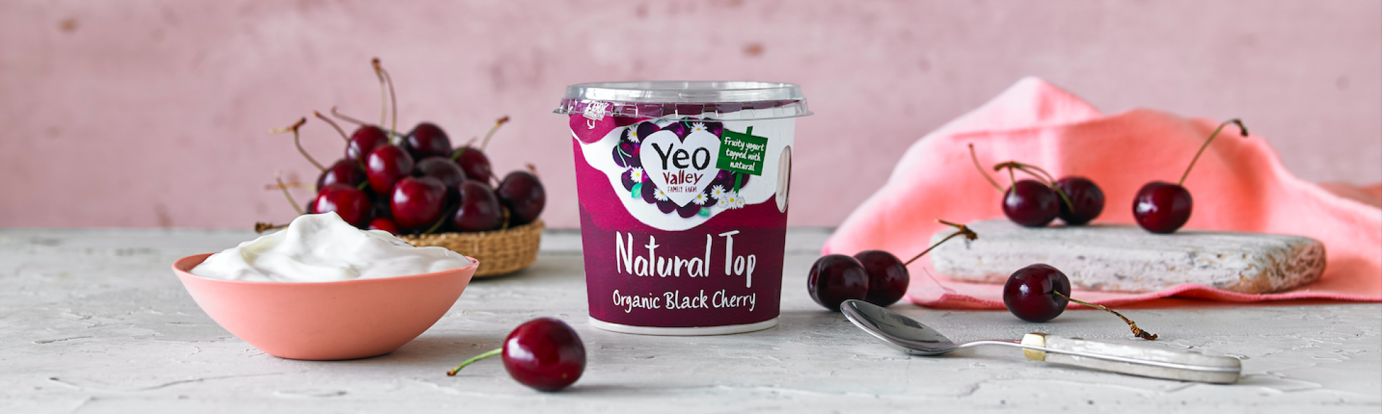 Yeo Valley Organic cherry yogurt greek style natural top