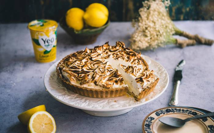 Lemon Meringue Pie made with organic lemon curd yogurt