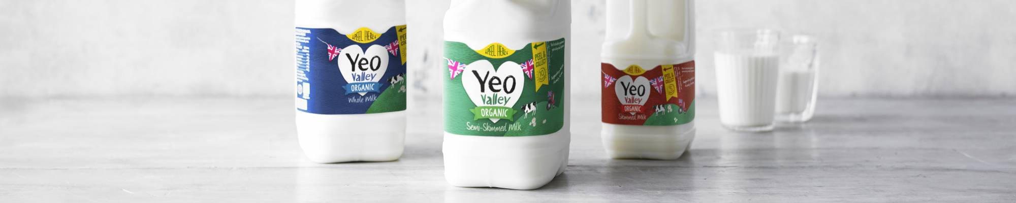 Yeo Valley milk whole, semi-skimmed and skimmed