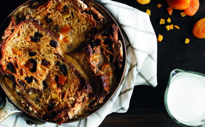 Panettone apricot bread and butter pudding