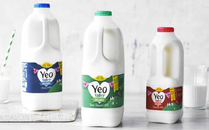 Yeo Valley milk in whole, semi-skimmed and skimmed with a glass of milk