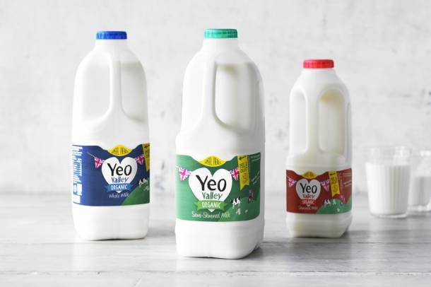 Organic Yeo Valley milk range with a glass of milk