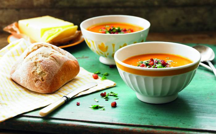 butternut squash pancetta soup warm and comforting