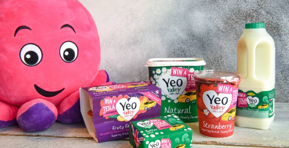 Yeo Valley on pack competition to win a Tesla with Octopus Energy